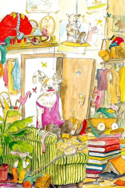 Bilderbuch: Dieses Chaos im Haus der sieben Geißlein setzt sogar den bösen Wolf außer Gefecht. Illustration aus Sebastian Meschenmoser: Die verflixten sieben Geißlein.