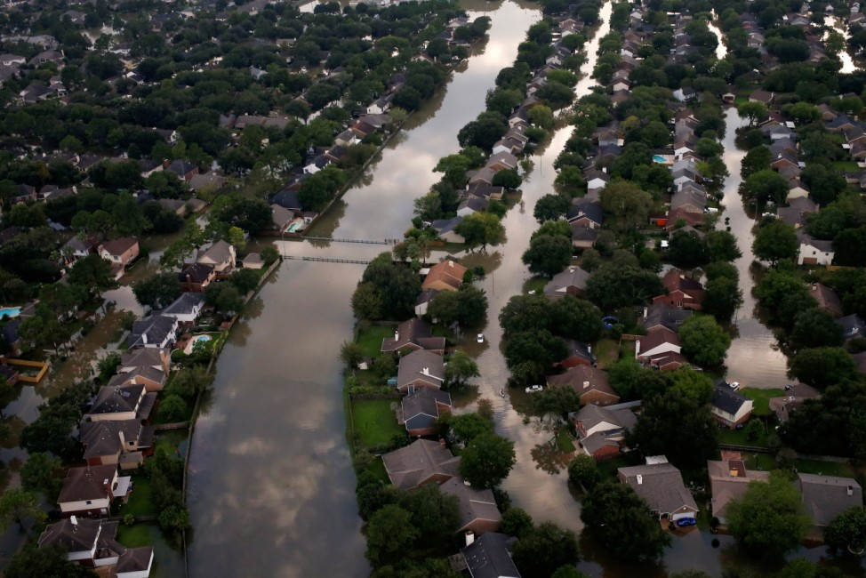 Houses are seen partially submerged in flood waters caused by Tropical Storm Harvey in Northwest Houston