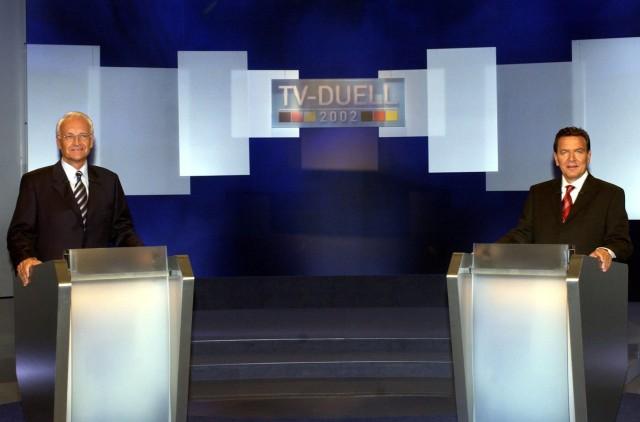 Bundestagswahlkampf im Fernsehen - Stoiber und Schröder