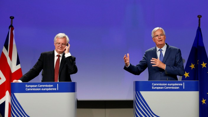 Britain's Secretary of State for Exiting the EU Davis and EU's chief Brexit negotiator Barnier hold a joint news conference in Brussels