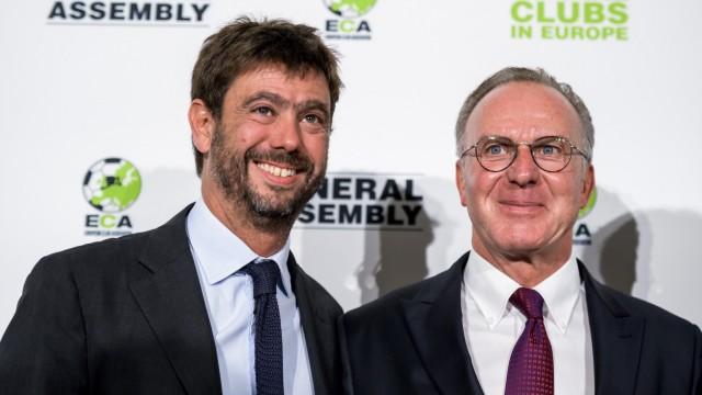 Umstrittene Klub-WM: ECA-Chef Andrea Agnelli (li.) und sein Vorgänger Karl-Heinz Rummenigge wollen bei der neuen Klub-WM nicht mitmachen.