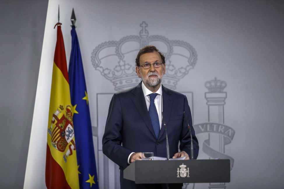 Spanish Prime Minister Mariano Rajoy holds a press conference at the end of an extraordinary Cabin