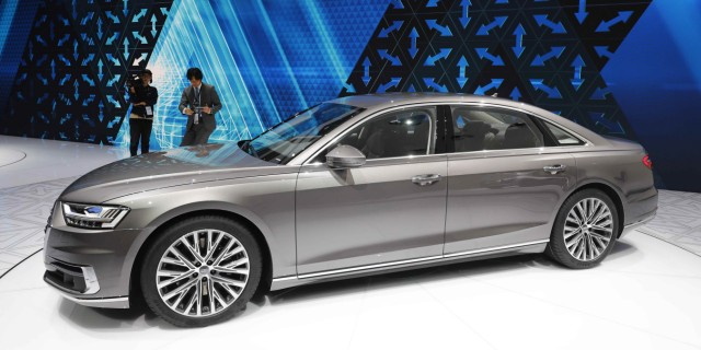An Audi A8 is pictured during the opening of the Frankfurt Motor Show