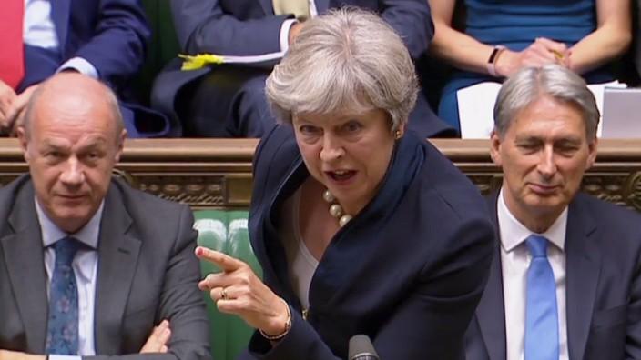 Brexit: May bei einer Rede im britischen Parlament.