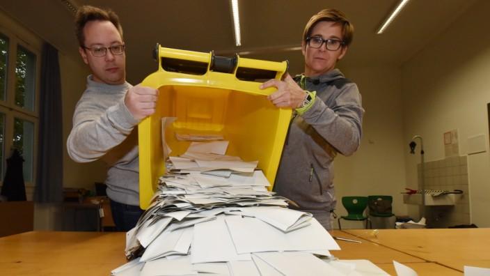 Hohe Wahlbeteiligung: Realschule am Gotzinger Platz: Im Wahllokal beginnt die Auszählung.