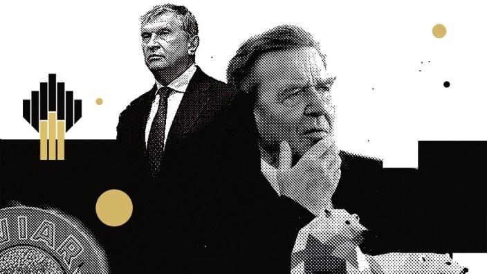 Gerhard Schröder und der Ölkonzern: Rosneft-Chef Igor Setschin - ein alter Vertrauter von Wladimir Putin - und Altkanzler Gerhard Schröder.
