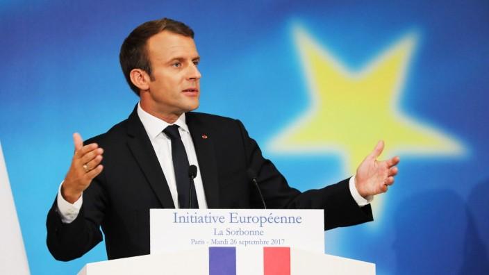 Frankreichs Präsident Emmanuel Macron bei seiner Rede zur EU an der Sorbonne in Paris 2017.