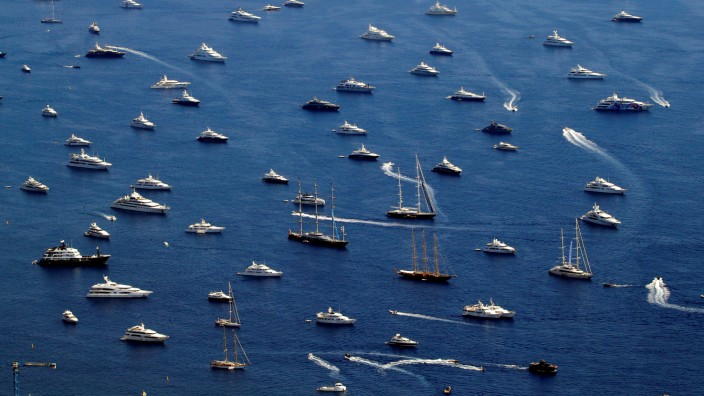 Luxury boats are seen during the Monaco Yacht show, one of the most prestigious pleasure boat show in the world, highlighting hundreds of yachts for the luxury yachting industry in the bay of Monaco