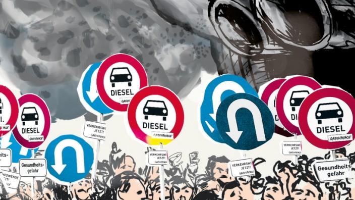 CO2-Bilanz: Diesel im Paragraphen-Dickicht: Ob der Selbstzünder vom Erfolgs- zum Auslaufmodell wird, hängt von drohenden Fahrverboten ab - und von den Koalitionsverhandlungen in Berlin. (Illustration: Özer/SZ)