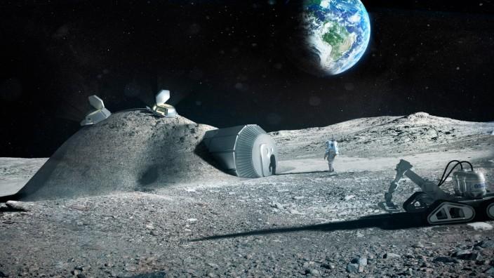 Raumfahrt: Diese kleine Mondbasis aus 3-D-Druck-Komponenten könnte einst zu einem Moon Village gehören, wie die Esa es sich vorstellt. Illustration: Esa
