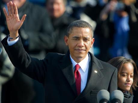 Mit Schal, Charme und Krawatte, Barack Obama, Amtseinführung