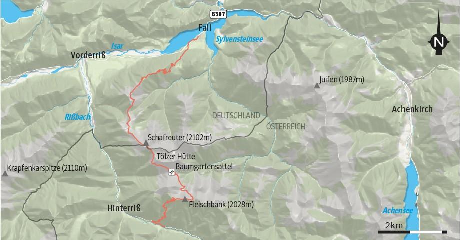 Wanderung Karwendel Rißtal Schafreuter Fall Sylvensteinsee Fleischbank Hinterriß