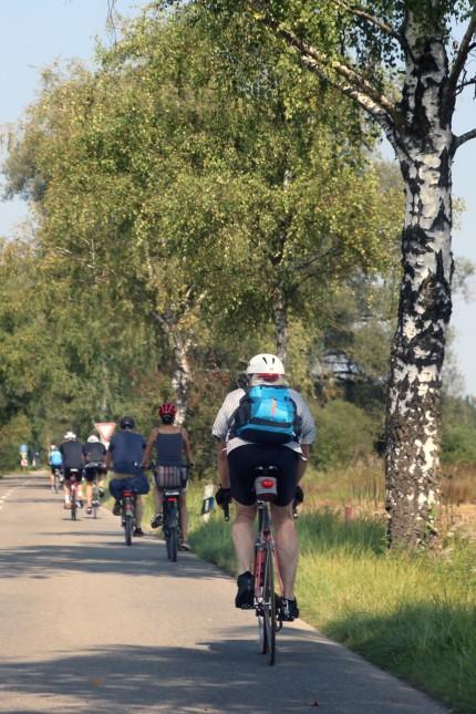 Radler auf gefährlicher Straße; Hier leben Radfahrer gefährlich