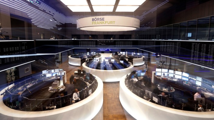A general view shows the trading floor at the stock exchange in Frankfurt