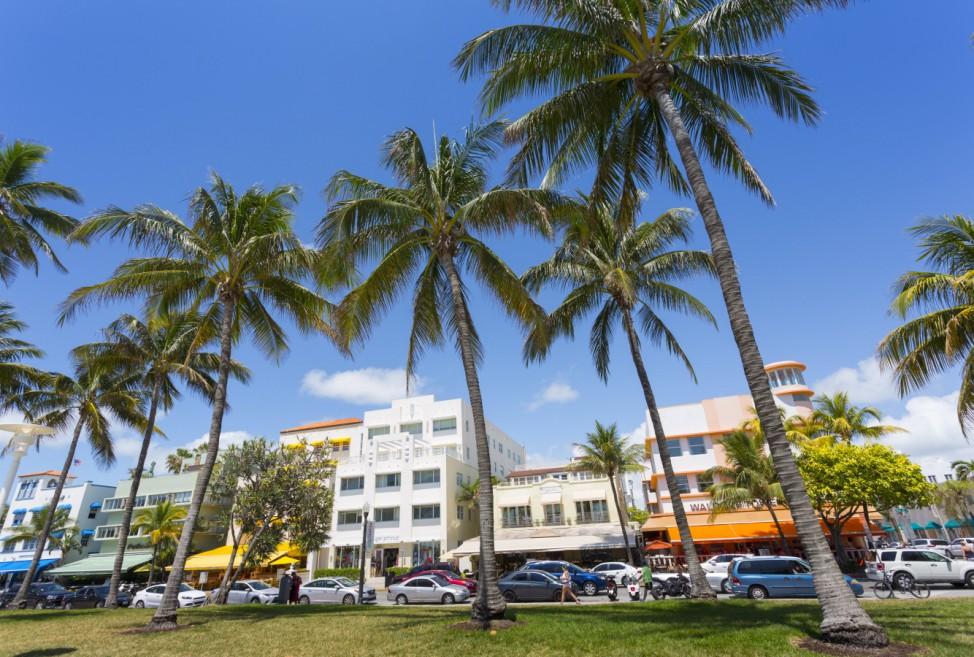 Ocean Drive and Art Deco architecture Miami Beach Miami Florida United States of America North