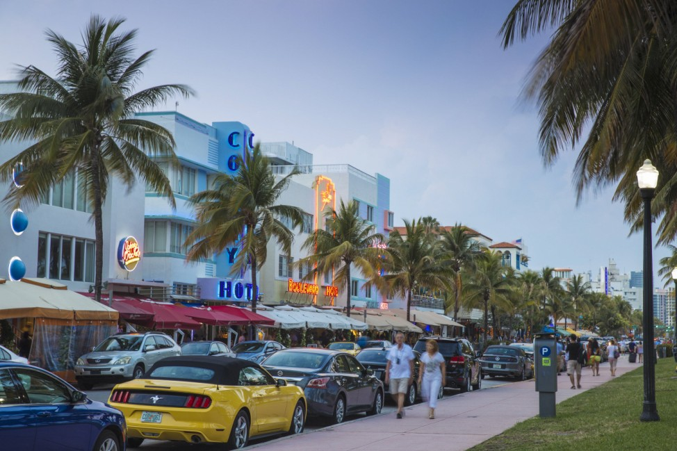 Art Deco hotels on Ocean Drive South Beach Maimi Beach Florida United States of America North A