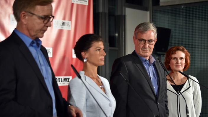 """Fraktionsklausur der Partei """"Die Linke"""" im Oktober 2017- die Fraktionsvorsitzenden Dietmar Bartsch und Sahra Wagenknecht sowie die Bundesvorsitzenden Bernd Riexinger und Katja Kipping."""