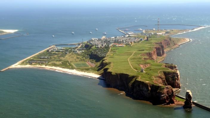 Die Insel Helgoland, vom Flugzeug aus gesehen.