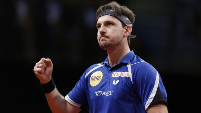 Tischtennis WC in Lüttich 171022 LIEGE Oct 22 2017 Timo Boll of Germany reacts during th