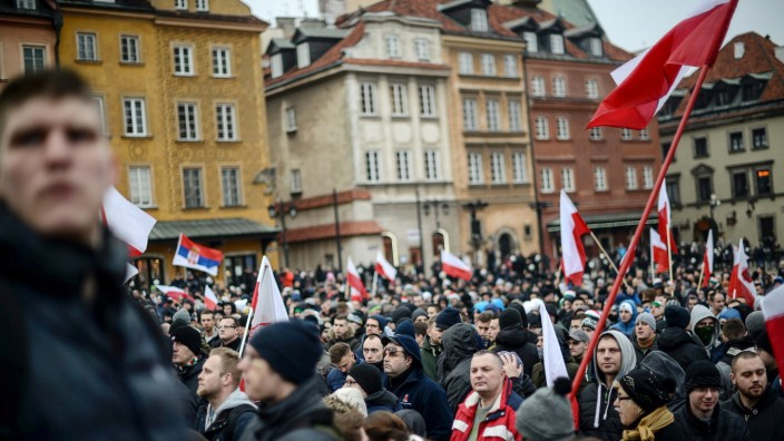 Supporters of anti-immigrant activists and nationalists protest i
