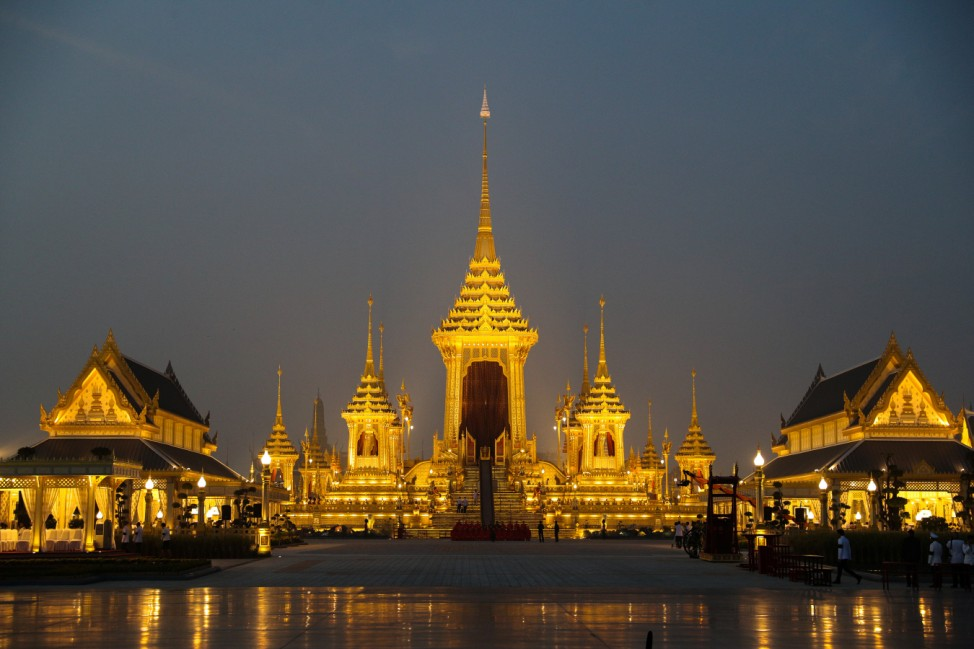 The Royal Crematorium site is seen before the funeral procession for Thailand's late King Bhumibol Adulyadej near the Grand Palace in Bangkok