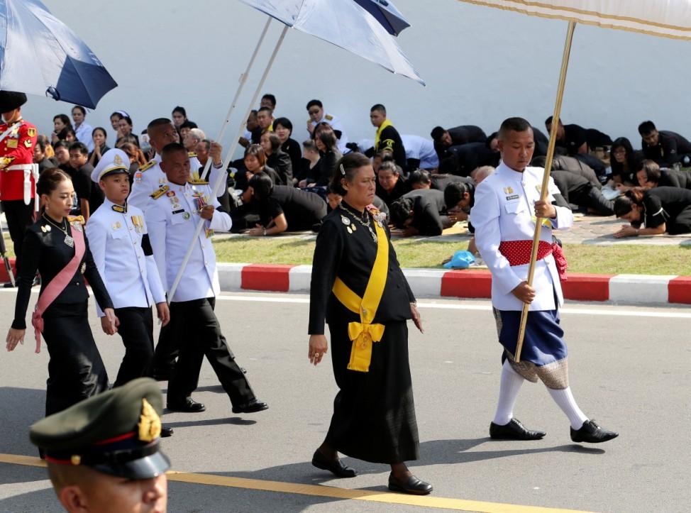 Thailand's Princess Maha Chakri Sirindhorn marches in the royal cremation procession of late King Bhumibol Adulyadej at the Grand Palace in Bangkok