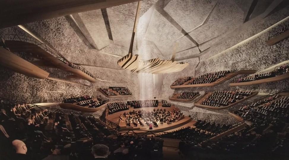 Modelle Konzerthaus München Architektenwettbewerb Fernando Menis SLPU, Santa Cruz, mit Monoplan AG Zürich