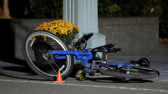 A bicycle lies in a bicycle lane following a pickup truck attack on the West Side Highway in Manhattan, New York