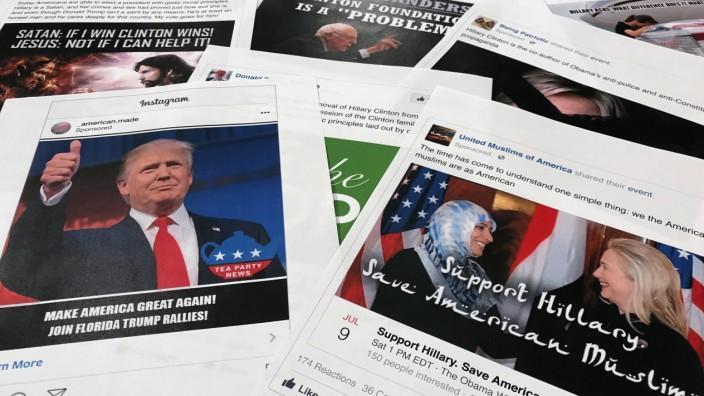 Propaganda im US-Wahlkampf: Facebook- und Instagram-Beiträge, mit denen russische Akteure die US-Wahl laut amerikanischen Geheimdiensten beeinflussen wollten.