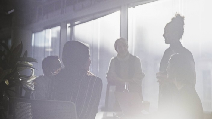 Silhouette business people talking Silhouette business people talking in conference room meeting PUB