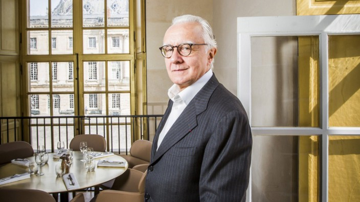 Portrait of Alain Ducasse chef in his restaurant Ore in the Pavillon Dufour of the Palace of Versa