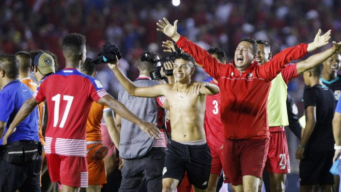 The members of Panama s national soccer team jubilate the victory after the FIFA 2018 Russia World C