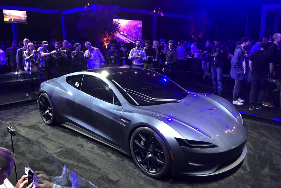 Tesla's new Roadster is unveiled during a presentation in Hawthorne