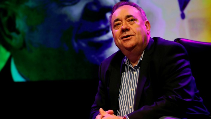 FILE PHOTO: Former First Minister of Scotland Alex Salmond talks about his show 'Alex Salmond Unleashed' at a news conference at the Edinburgh Fringe, Edinburgh