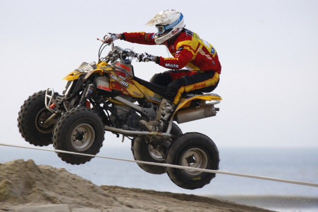 Jeremie Warna de Zarzecki of France rides on his way to win the Quaduro on the beach of Le Touquet