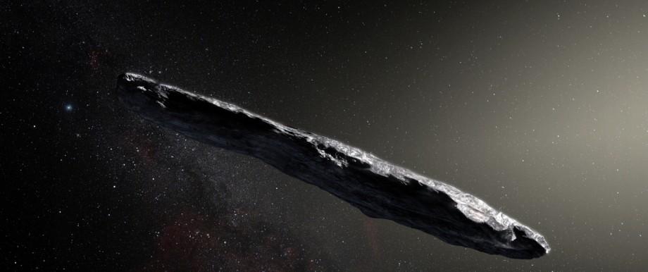 Künstlerische Darstellung des interstellaren Asteroiden `Oumuamua