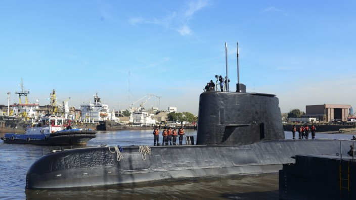 """Argentinien: Das vermisste argentinische U-Boot, die """"ARA San Juan"""", im Jahr 2014."""