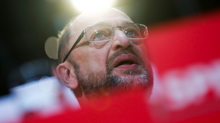 Social Democratic Party (SPD) leader Martin Schulz gives a statement at the party headquarters in Berlin