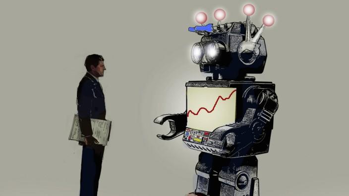Geschäftsmann schaut auf Liniendiagramm auf dem Bildschirm eines Roboters PUBLICATIONxINxGERxSUIxAUT