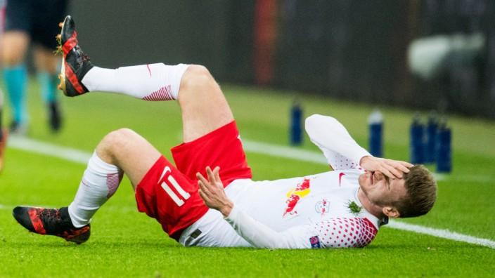RB Leipzig in der Champions League: Kurz auf dem Boden: Leipzigs Timo Werner.