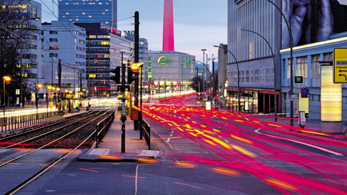 Berlin cityscape with road traffic