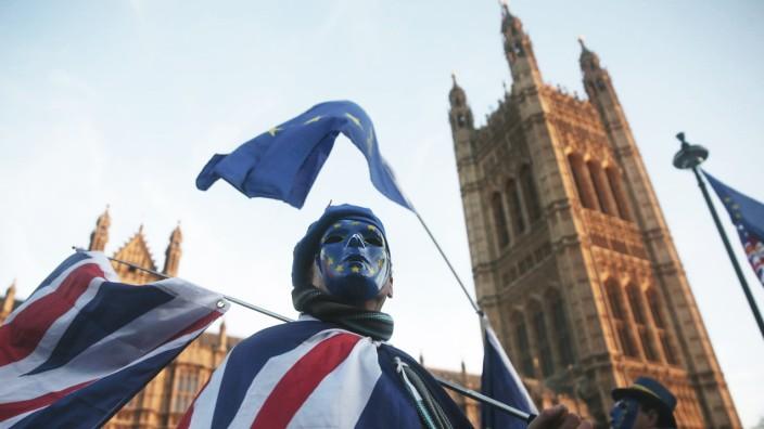 Brexit: Ein Anti-Brexit-Demonstrant vor dem Londoner Parlament