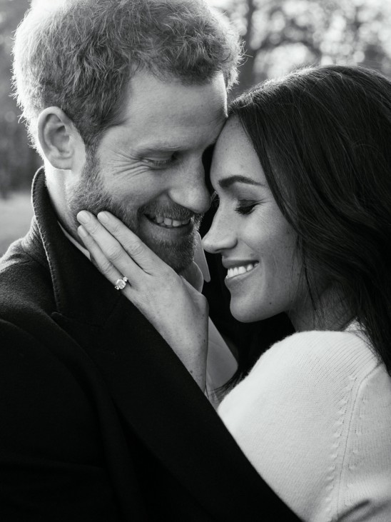 One of two official engagement photos released by Kensington Palace of Prince Harry and Meghan Markle, at Frogmore House in Windsor