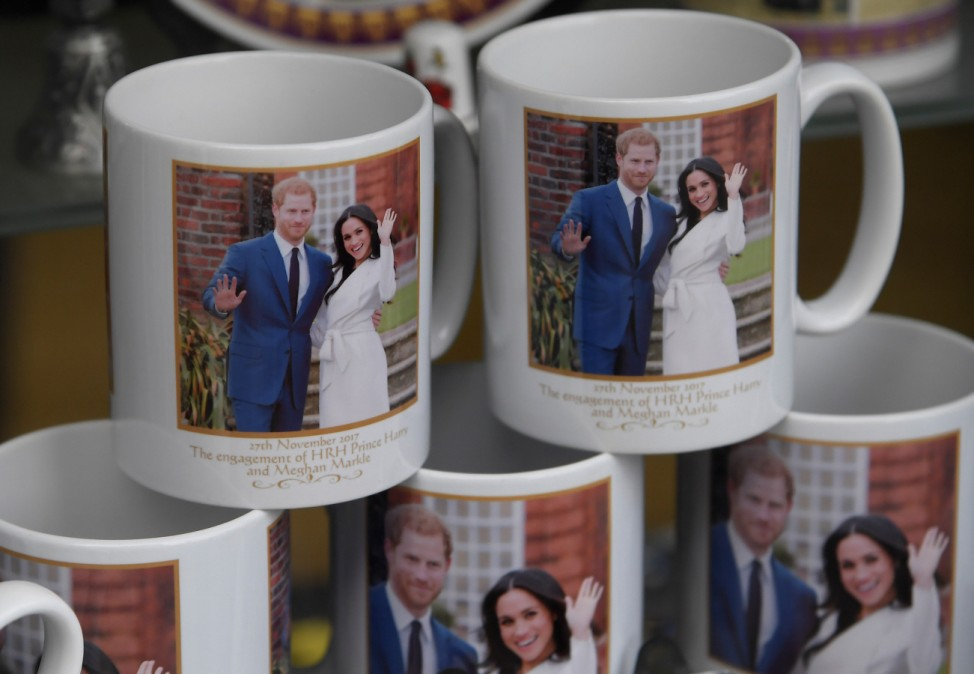 Commemorative gifts ahead of the wedding of Britain's Prince Harry and his fiancee Meghan Markle are seen displayed for sale in a shop in Windsor, Britain
