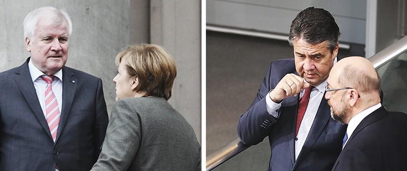 Start der Sondierungen: Horst Seehofer, Angela Merkel, Sigmar Gabriel und Martin Schulz (v.l.n.r.)