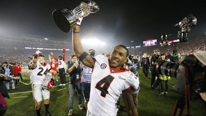 January 01 2018 Georgia Bulldogs wide receiver Mecole Hardman 4 celebrates with the Rose Bowl troph