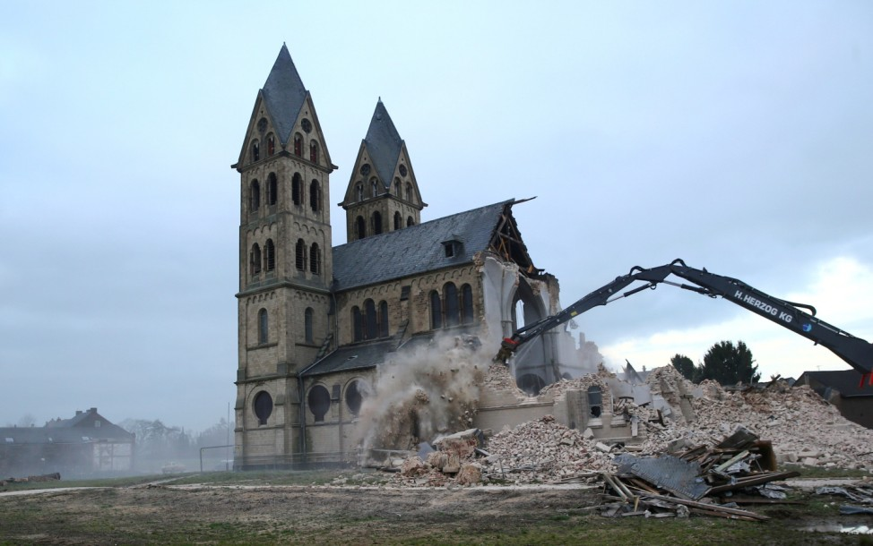 The St. Lambertus church in the village of Immerath is demolished for the expansion of the nearby opencast brown coal mine of German power supplier RWE, in Immerath