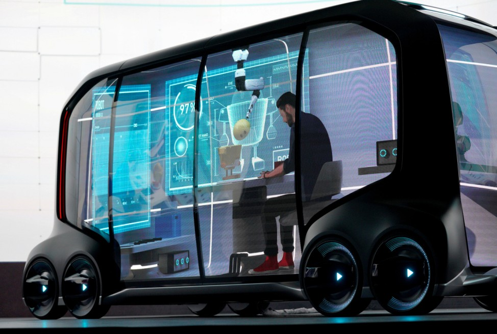 Toyota Motor Corporation, displays the 'e-Palette', a new fully self-driving electric concept vehicle designed to be used for ride hailing, parcel delivery services and other uses at CES in Las Vegas