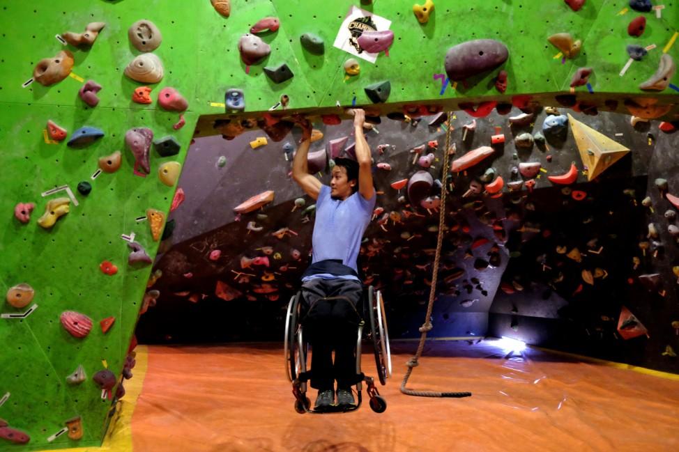 Wheelchair-bound Lai Chi-wai demonstrates his skill in Hong Kong
