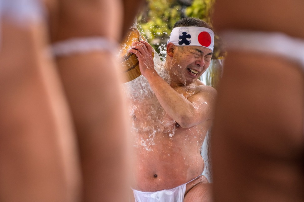 People Coming Of Age Purify With Icy Water In Tokyo